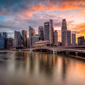 Shenton Glory by Gordon Koh - City,  Street & Park  Skylines ( clouds, urban, cbd, reflection, skyline, shenton, skyscraper, sunset, long exposure, waterfront, singapore, city, river,  )
