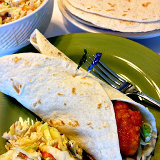 Sweet & Spicy Crispy Chicken Wraps with Oriental Slaw