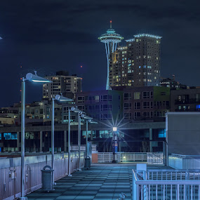 Seattle Space Needle by Gary Wells - City,  Street & Park  Skylines ( night photography )
