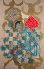 """Photo: Navigate 11"""" x 17"""" Acrylic paint on linen, hand embroidery and beadwork. All rights reserved, 2015"""