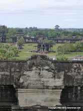 Photo: Looking West from the upper floor of the main Angkor Wat building. That is the main entrance.