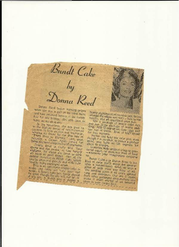 Bundt Cake By Donna Reed Recipe