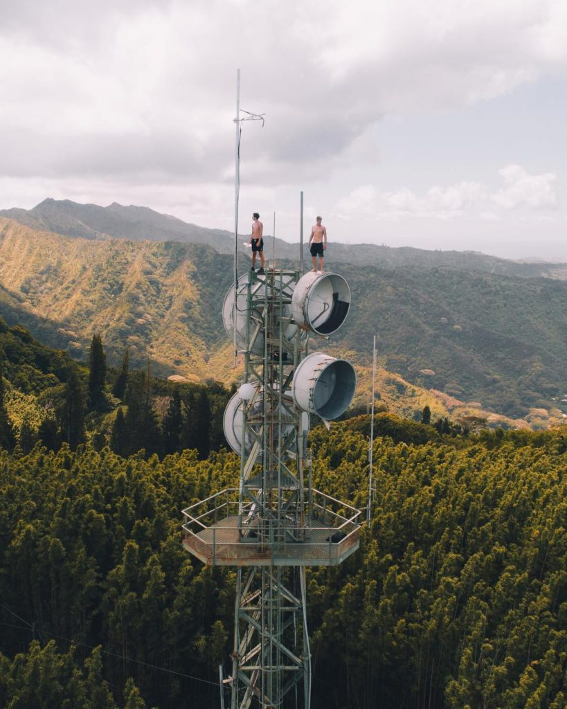 Tantalus Tower Drone shot in Oahu (#26 on 26 best things to do on Oahu)