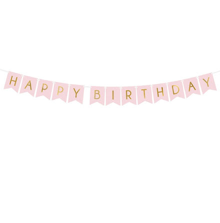 Vimpel - Happy birthday, ljusrosa