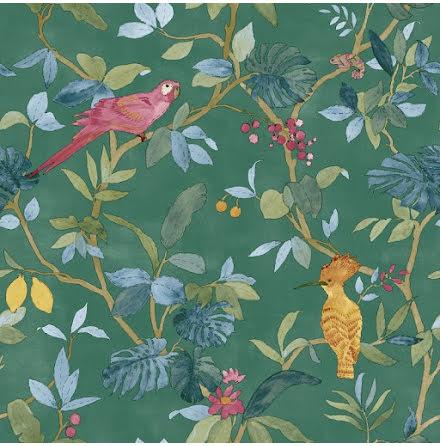 Christiana Masi Hashtag 11003 Tapet med bladverk och exotiska fåglar, Grön/Röd/Beige