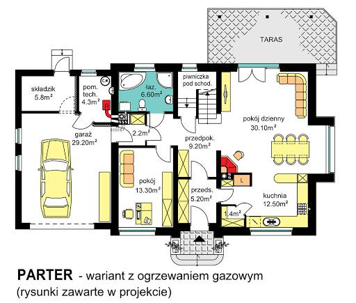 BW-44 wariant 1 - Rzut parteru - propozycja adaptacji - ogrzewanie gazowe