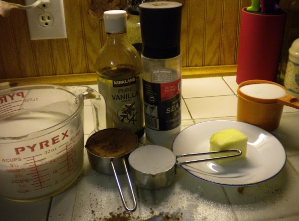 Combine coca, sugar, cornstarch, and salt in a saute pan. When thoroughly combined, stir...