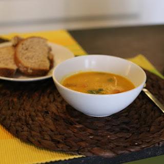 Hokkaido Pumpkin Soup w/ Thyme, Carrots, & White Beans