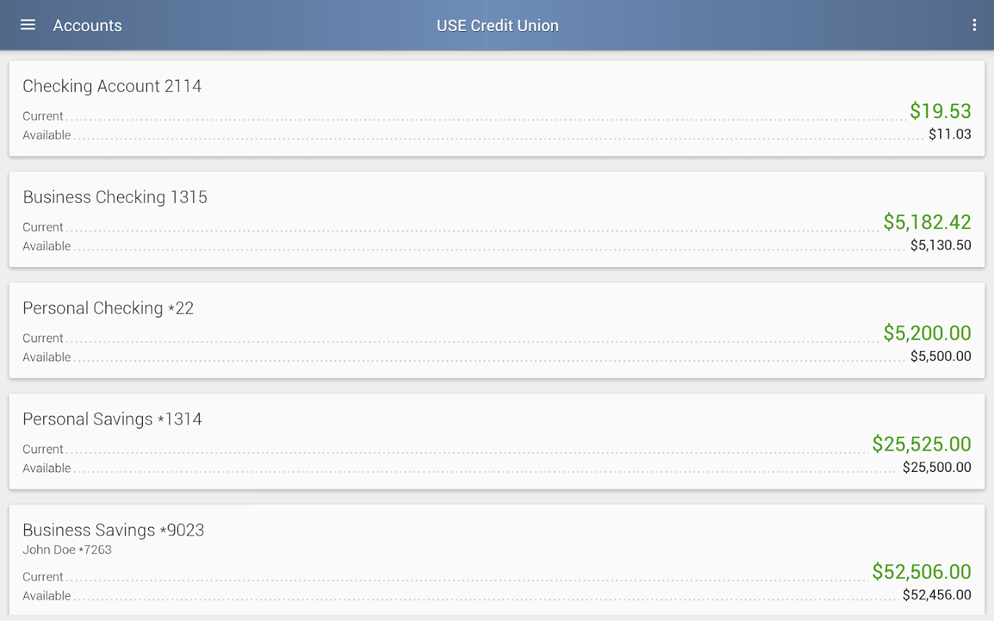 USE Credit Union Mobile- screenshot