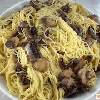 Light Mushroom and Lemon Angel Hair Pasta.
