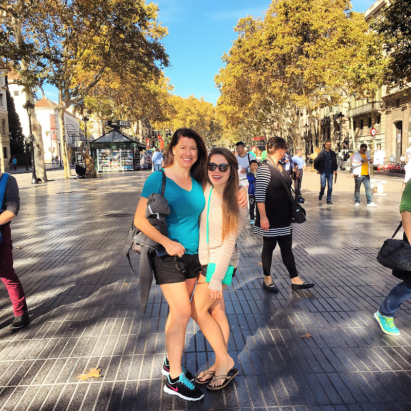 A friend and me on La Rambla, Barcelona's main public thoroughfare.