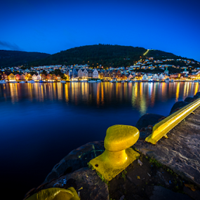 Bergen city harbor at night by Paulius Bruzdeilynas - City,  Street & Park  Night ( water, bergen, port, reflection, harbor, sony alpha, sony a7ii, fjord, city, norway, sony, lights, ulriken, norwegian, night, norge, floyen, foreground,  )