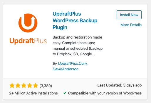 UpdraftPlus WordPress backup plugin