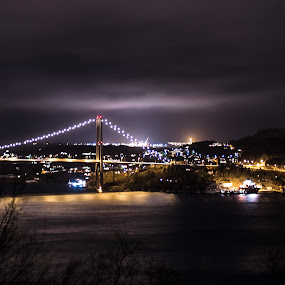 Stormy night over Askoy bridge by Steven Snoots - Landscapes Weather ( askoy, cloudy, reflections, weather, night, bridge, norway )