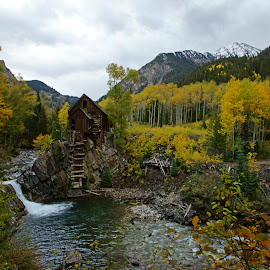 Crystal Mill by Justin Giffin - Landscapes Mountains & Hills ( water, mountains, fall colors, autumn, buildings, colorado, landscape, abandoned,  )