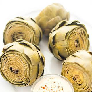 Steamed Artichokes with Tahini Dipping Sauce.