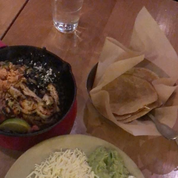 Gluten free chicken and shrimp fajitas