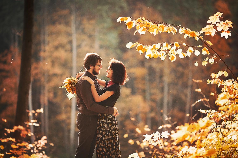 пара осенний лес фото будки для