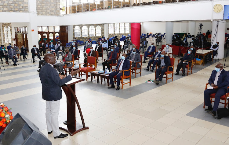 Deputy President William Ruto during a session with leaders at the Africa Inland Church at AIC, Milimani, Nairobi.