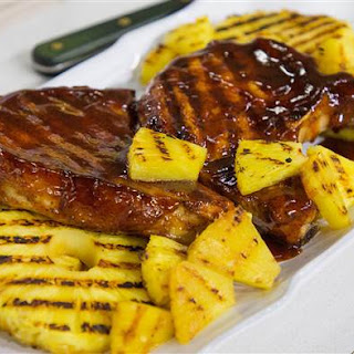 Grilled Pork Chops with Pineapple and Homemade Barbecue Sauce Recipe