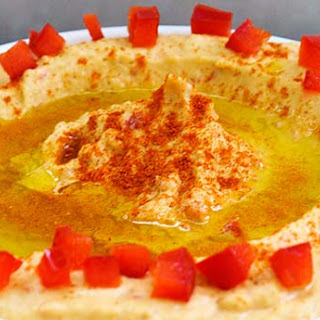 Roasted Red Bell Pepper Hummus.
