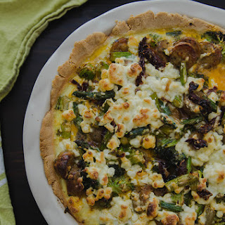 Spring Harvest Quiche with Sausage, Sun Dried Tomatoes & Goat Cheese
