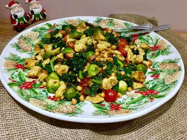 Curried Brussels Sprouts With Chicken And Cavolo Nero Everybody's All Time Favorite, Chicken, Mixed With An Explosion Flavors. Here You Have A Colorful, Nutritious And Yummy Before, During, And Post Holiday Dish For Everyone To Enjoy.