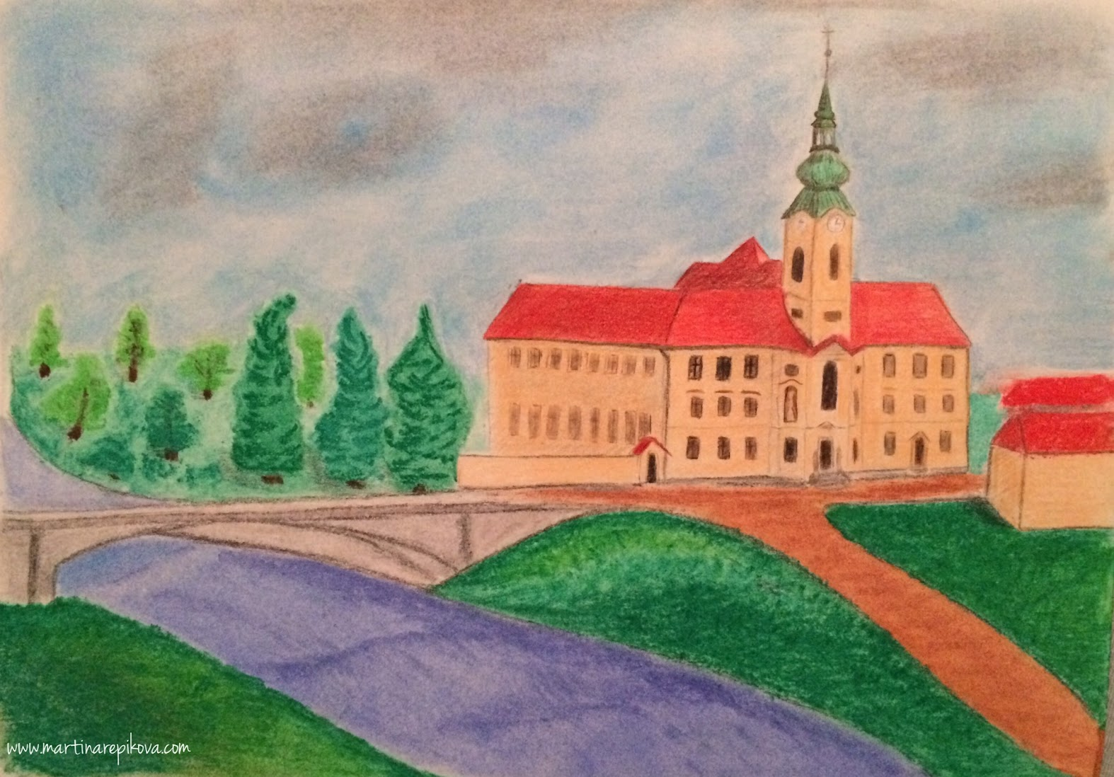 A hospital in Brno, Czech republic (a pencil and pastel drawing)