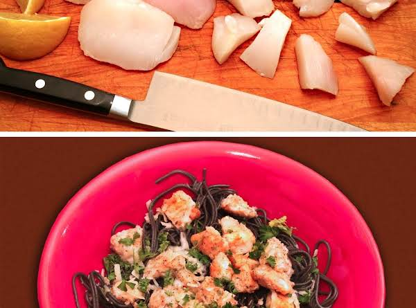 Halibut Cheeks With Lemon & Garlic On Black Pasta Recipe