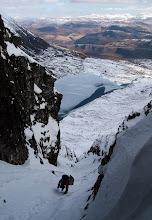 Photo: Pete climbs Chockstone Gully (I), Toll an Lochain, An Teallach