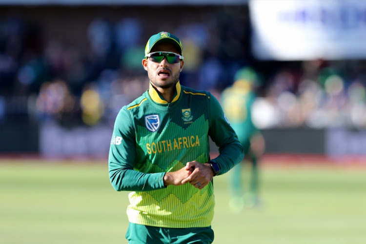 Reeza Hendricks of South Africa tends to an injury during the first ODI against Pakistan at St Georges Park on January 19 2019 in Port Elizabeth, South Africa.