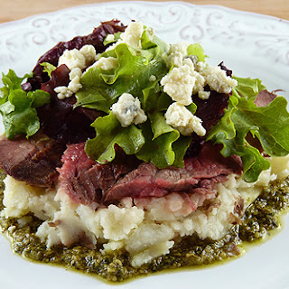 Steak Salad with Mashed Potatoes, Pesto and Gorgonzola Cheese.