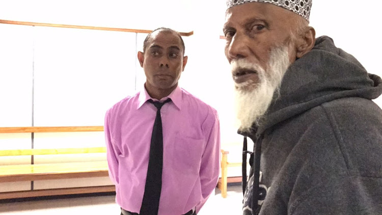 Mohammed Ebrahim, left, and his father Sheik Ebrahim Shah in the Durban magistrate's court on October 17 2018.