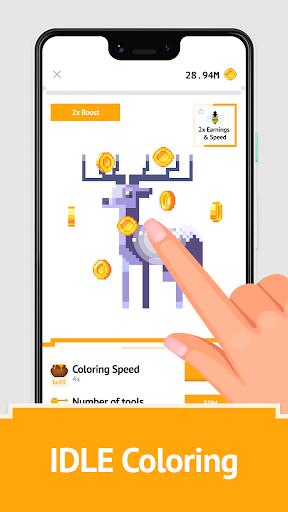 Idle Pixel Art Coloring - Tap tap to color clicker 1.0.2 Mod screenshots 1