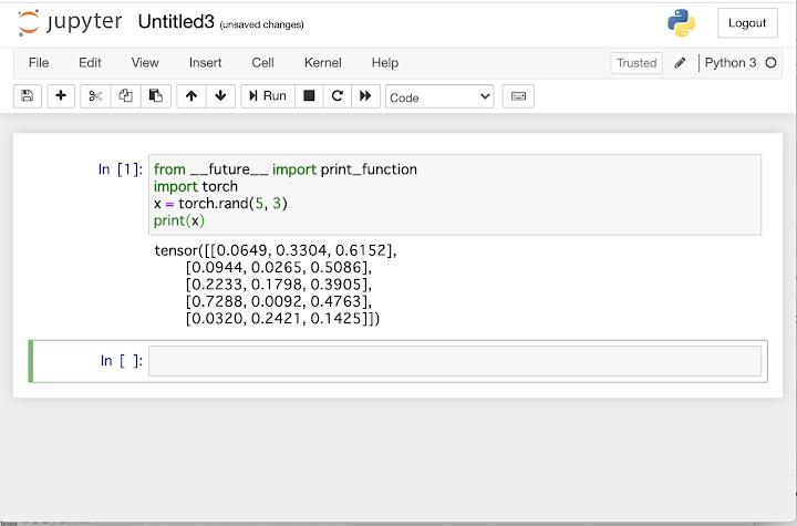 Jupyter Notebookで乱数を作成してPyTorchの動作確認