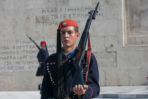 Closeup of one of the Evzones during the Changing of the Guard in Athens.