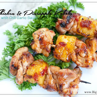Chicken & Pineapple Kabobs with Chili Garlic Sauce.