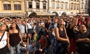 The size of crowds that gather in Prague's centre disrupts the lives of residents, the city council says.
