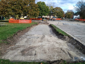Photo: Gravel placement for path and rolling 10-24-2013