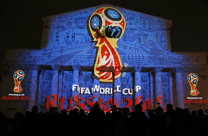 A light installation shows the official logotype of the 2018 FIFA World Cup during its unveiling ceremony at the Bolshoi Theater building in Moscow, Russia. Picture: REUTERS