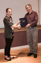 Photo: Claire Tuna accepting the Warren Y. Dere Design Award.