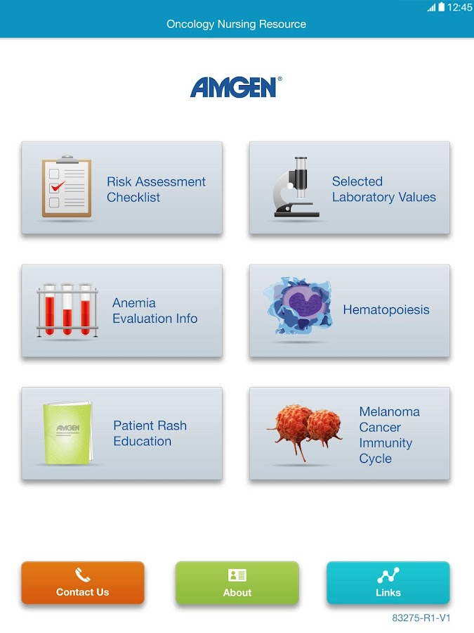 Amgen Oncology Nursing Tool- screenshot