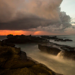 Sunset with the rain at Mengening by Henry Rubi - Landscapes Sunsets & Sunrises