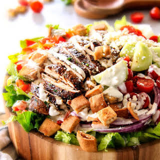 Greek Chicken Salad with Pita Croutons and Tzatziki Dressing.