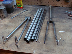 Photo: The chainstays are mitered and the fork is built, now for the main triangle!
