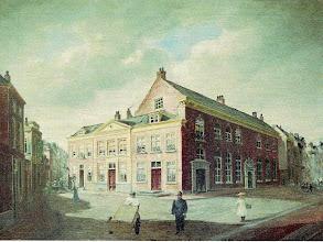 Photo: Het Sint Nicolaas Gasthuis rond 1800, gelegen aan de Grote Halstraat / hoek Oude Molstraat.
