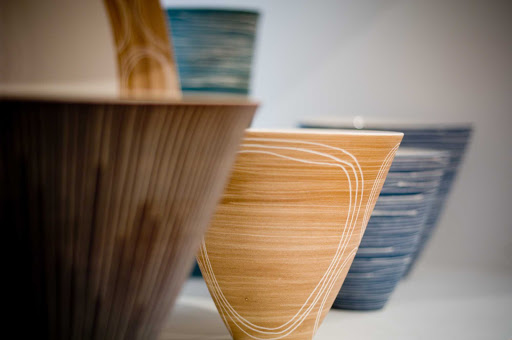 Melbourne-Craft-Victoria-exhibit - Bowls at Craft Victoria exhibition in Flinders Lane, Melbourne, Australia.