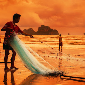 Fisherman II by Mindaugas Navickas - People Portraits of Men ( water, sunset, thailand, sea, beach, portrait, man,  )