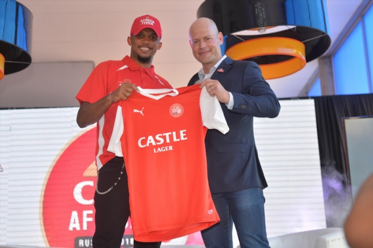 Brand Ambassador Samuel Eto 'o with Brand Director Castle Lager – Vaughan Croeser during the Castle Lager Africa Media Launch at Discovery Soccer Park, Illovo.