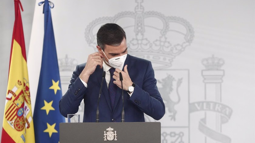 Pedro Sánchez en su comparecencia de hoy.